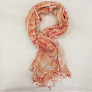 Orange floral Rectangle Hijab Scarf with Tassels